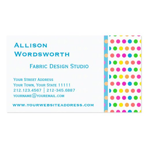 Elegant Polka Dot Designer Fun Polka Dots Business Card