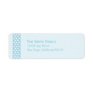 Elegant Polka Dot Return Address Label (blue)