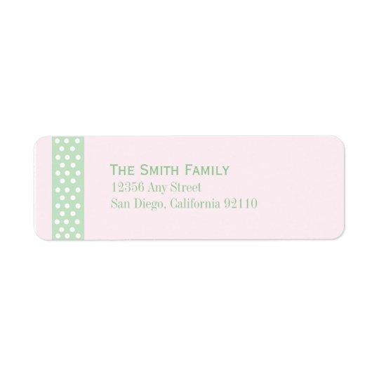 Elegant Polka Dot Return Address Label (pink cand)