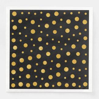 Elegant polka dots - Black Gold Paper Dinner Napkin