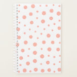 "Elegant polka dots - Soft Pink Gold White Planner<br><div class=""desc"">Design by LEMAT WORKS https://zazzle.com/lematworks*/collections https://lematworks.myportfolio.com</div>"