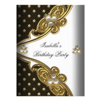 Elegant Polka Dots White Black Gold Party Personalized Invite