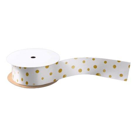 Elegant polka dots - White Gold Satin Ribbon