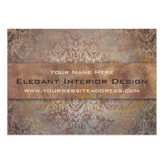 Elegant Pompeii Damask Shimmer Red and Gold Business Card Template