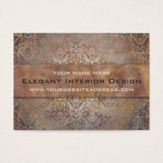 Elegant Pompeii Damask Shimmer Red and Gold Business Card