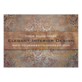 Elegant Pompeii Damask Shimmer Red and Gold Business Card Template