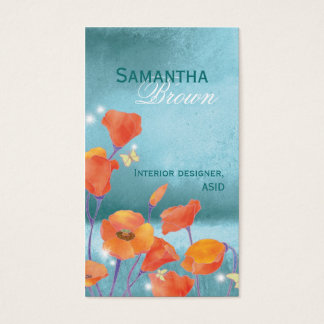 Elegant Poppy Field Nature Inspired Business Cards