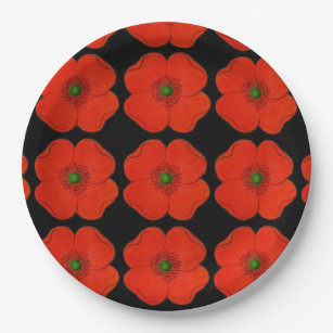 Elegant poppy flower designed - black background paper plate  sc 1 st  Zazzle & Poppy Design Plates | Zazzle