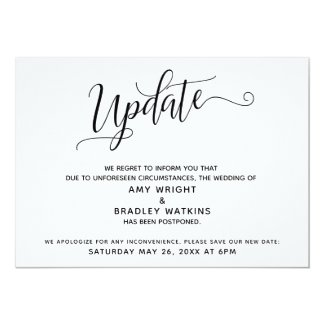 Elegant Postponed Wedding Announcement Update