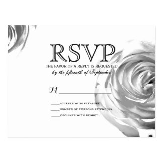 Elegant Pretty Black and White Rose Print Postcard