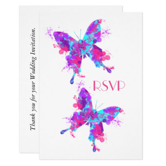 Elegant Pretty Butterfly Pink Teal Personalized Card