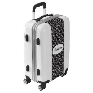 Elegant Pretty Damask Design White Scrolls Black Luggage