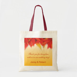 Elegant pretty fall wedding favor thank you tote canvas bags