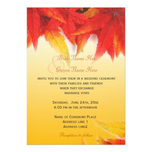 Elegant, pretty fall wedding invitations personalized ...