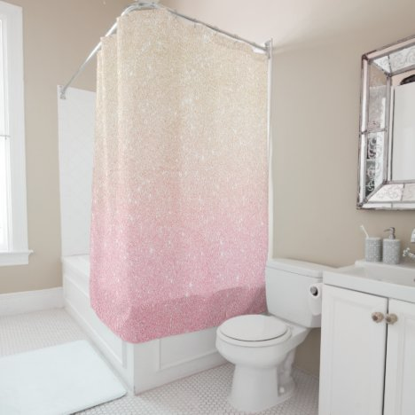 Elegant pretty girly gradient rose gold glitter shower curtain