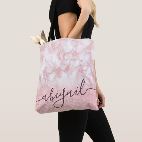 Elegant pretty gradient rose gold glitter marble tote bag