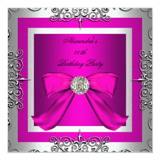 Elegant Pretty Hot Pink Silver Birthday Party Card