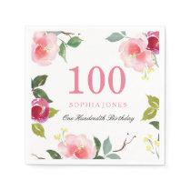 Elegant Pretty Pink Floral 100th Birthday Party Paper Napkin