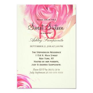 Elegant Pretty Pink Rose Print 3.5x5 Paper Invitation Card