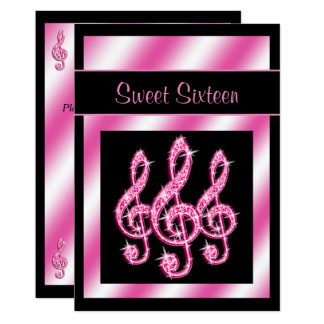 Elegant, Pretty Pink Treble Clefs Sweet 16 Card