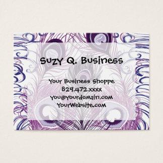 Elegant Pretty Purple Peacock Feathers Design Business Card