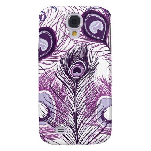 Elegant Pretty Purple Peacock Feathers Design Samsung Galaxy S4 Covers