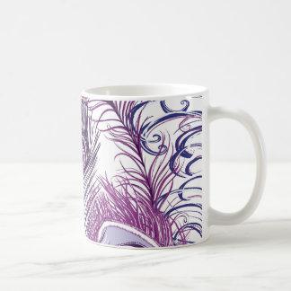 Elegant Pretty Purple Peacock Feathers Design Classic White Coffee Mug