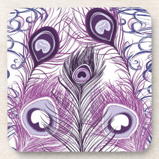 Elegant Pretty Purple Peacock Feathers Design Drink Coaster