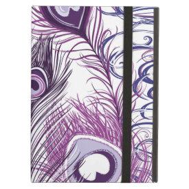 Elegant Pretty Purple Peacock Feathers Design iPad Folio Cases