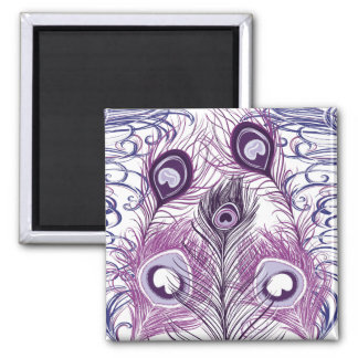 Elegant Pretty Purple Peacock Feathers Design Magnet
