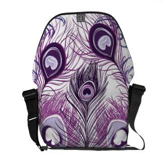 Elegant Pretty Purple Peacock Feathers Design Messenger Bag