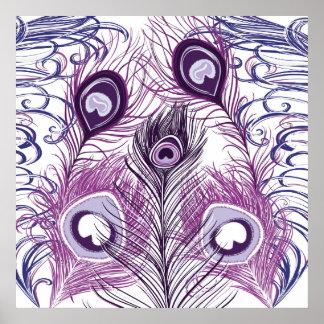 Elegant Pretty Purple Peacock Feathers Design Poster