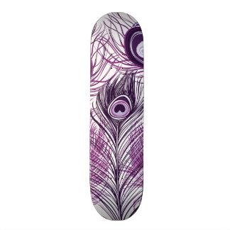 Elegant Pretty Purple Peacock Feathers Design Skateboard