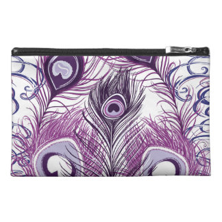 Elegant Pretty Purple Peacock Feathers Design Travel Accessory Bag