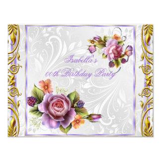 Elegant Pretty Purple Pink Rose White Birthday 4.25x5.5 Paper Invitation Card