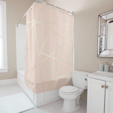 Elegant pretty rose gold & blush pink geometric shower curtain