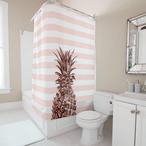 Elegant pretty rose gold pineapple & pink stripe shower curtain