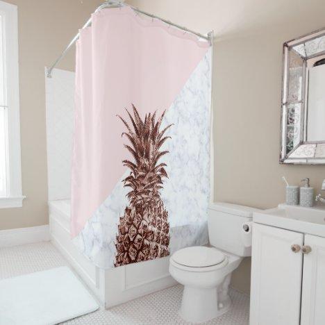 Elegant pretty rose gold pineapple white marble shower curtain