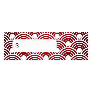 Elegant Price Tag Scalloped Red Mini Business Card