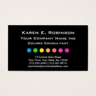 Elegant Primary Color Dots Decorator Consultant Business Card