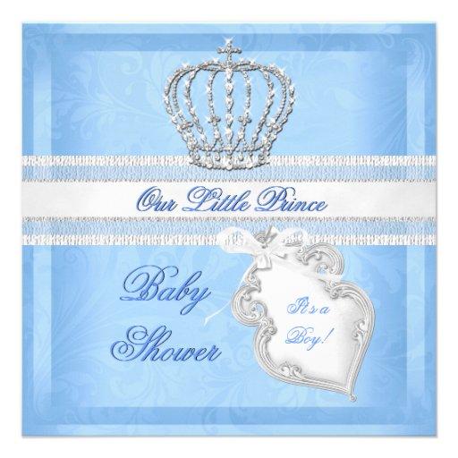 elegant prince baby shower boy blue little prince square