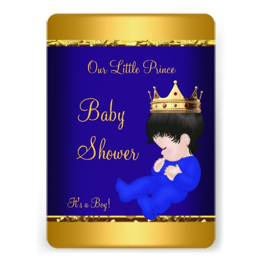prince baby shower royal blue gold boy personalized invites zazzle