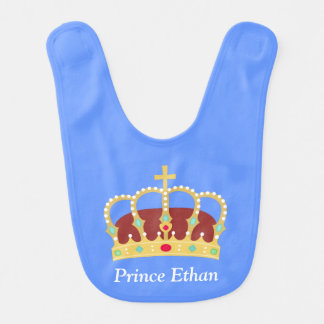 Elegant Prince Crown with Jewels for Baby Boys Bib