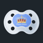 """Elegant Prince Crown with Jewels for Baby Boys Pacifier<br><div class=""""desc"""">A elegant and classy baby pacifier for your little baby boy which features a prince crown with many exquisite jewels, pearls, emeralds, diamonds and a cross rest on the top of the crown. A design fitting for royalty. Personalise with child&#39;s name. Makes a great baby shower gift for baby boys...</div>"""