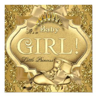 Elegant Princess Baby Shower Baby Girl Gold Golden Card
