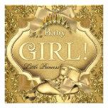 Elegant Princess Baby Shower Baby Girl Gold Golden Custom Invitations