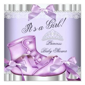 Elegant Princess Baby Shower Girl Lavender lace Card