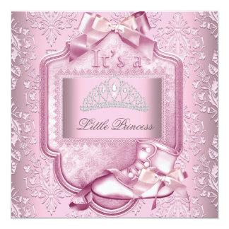 Elegant Princess Baby Shower Girl Pink Damask Shoe Card