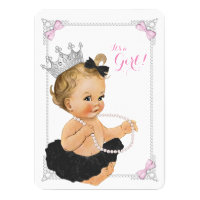 Elegant Princess Ballerina Tutu Pearl Baby Shower Card