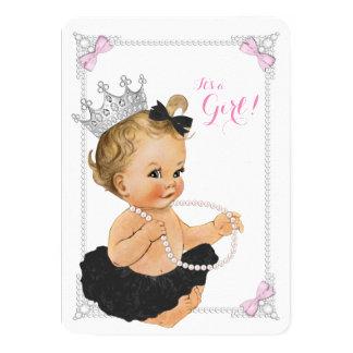 Elegant Princess Ballerina Tutu Pearl Baby Shower Card